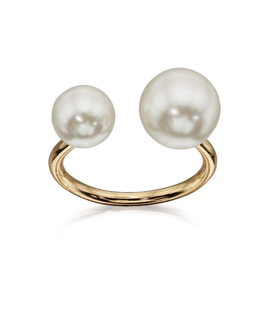 Image for Fiorelli Fashion Gold Plated Glass Pearl Open Ring