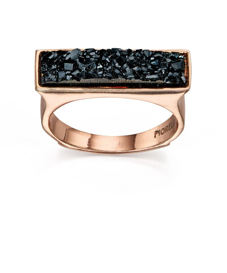 Image for Fiorelli Fashion Rose Gold Plated Black Crystal Square Top Ring