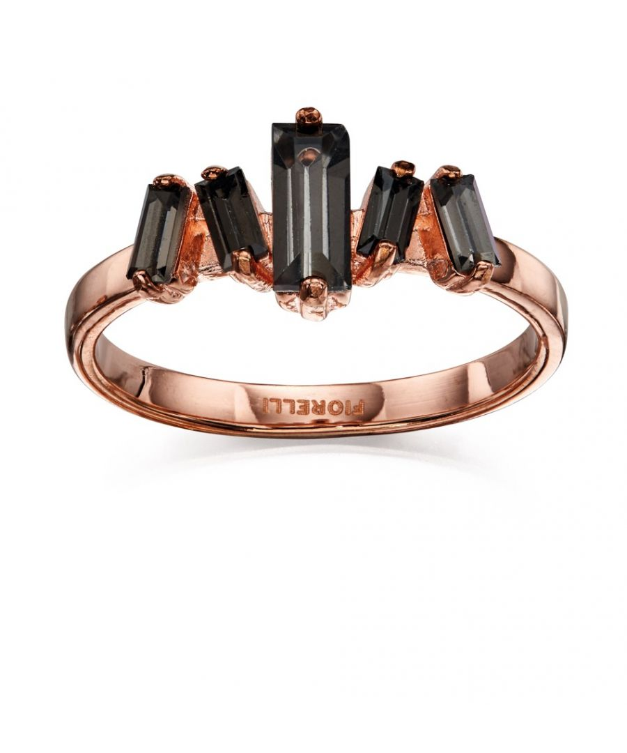 Image for Fiorelli Fashion Rose Gold Plated Baguette Black Crystal Ring