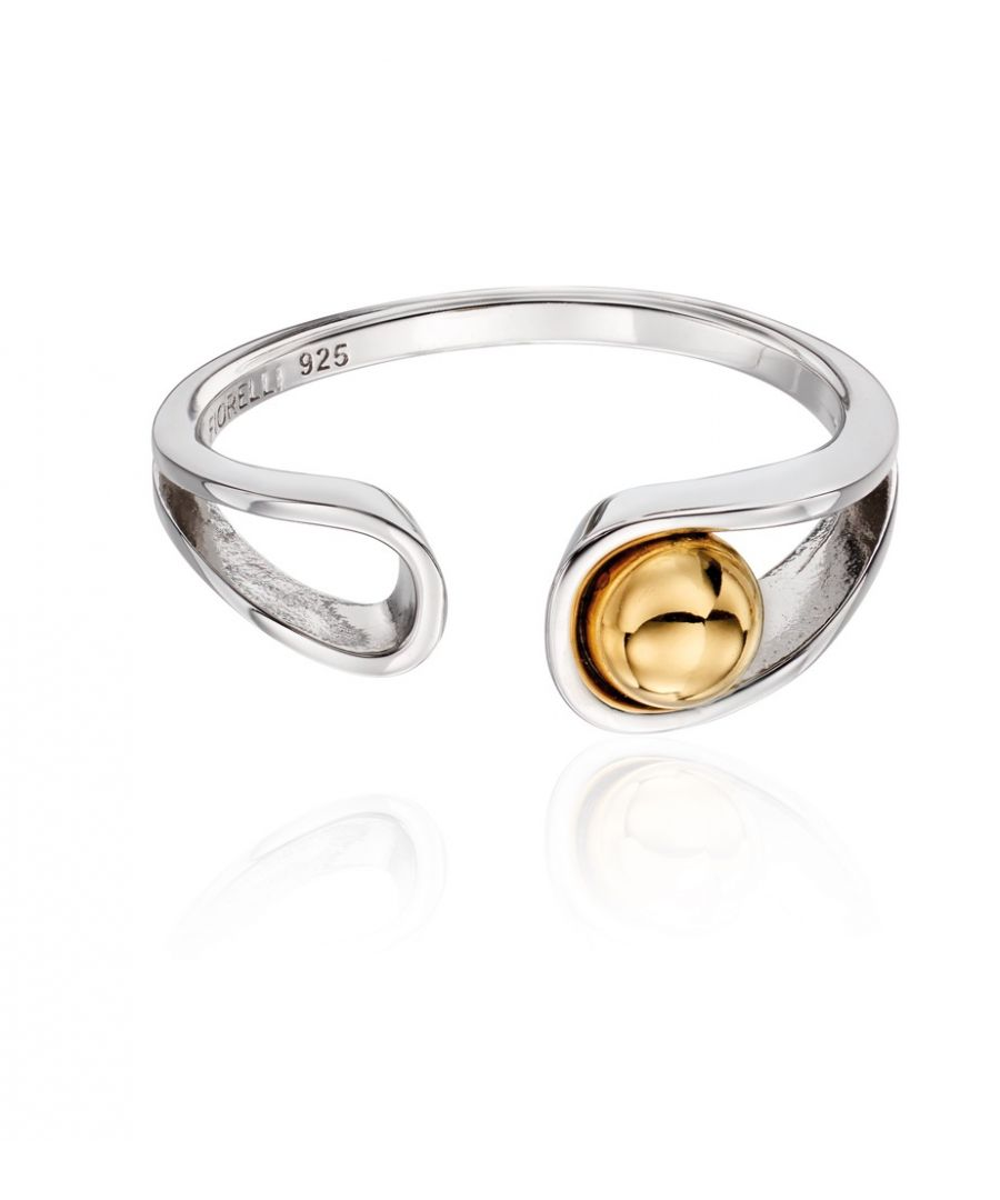 Image for Fiorelli Silver Womens 925 Sterling Silver & Gold Plated Ball Ribbon Design Ring