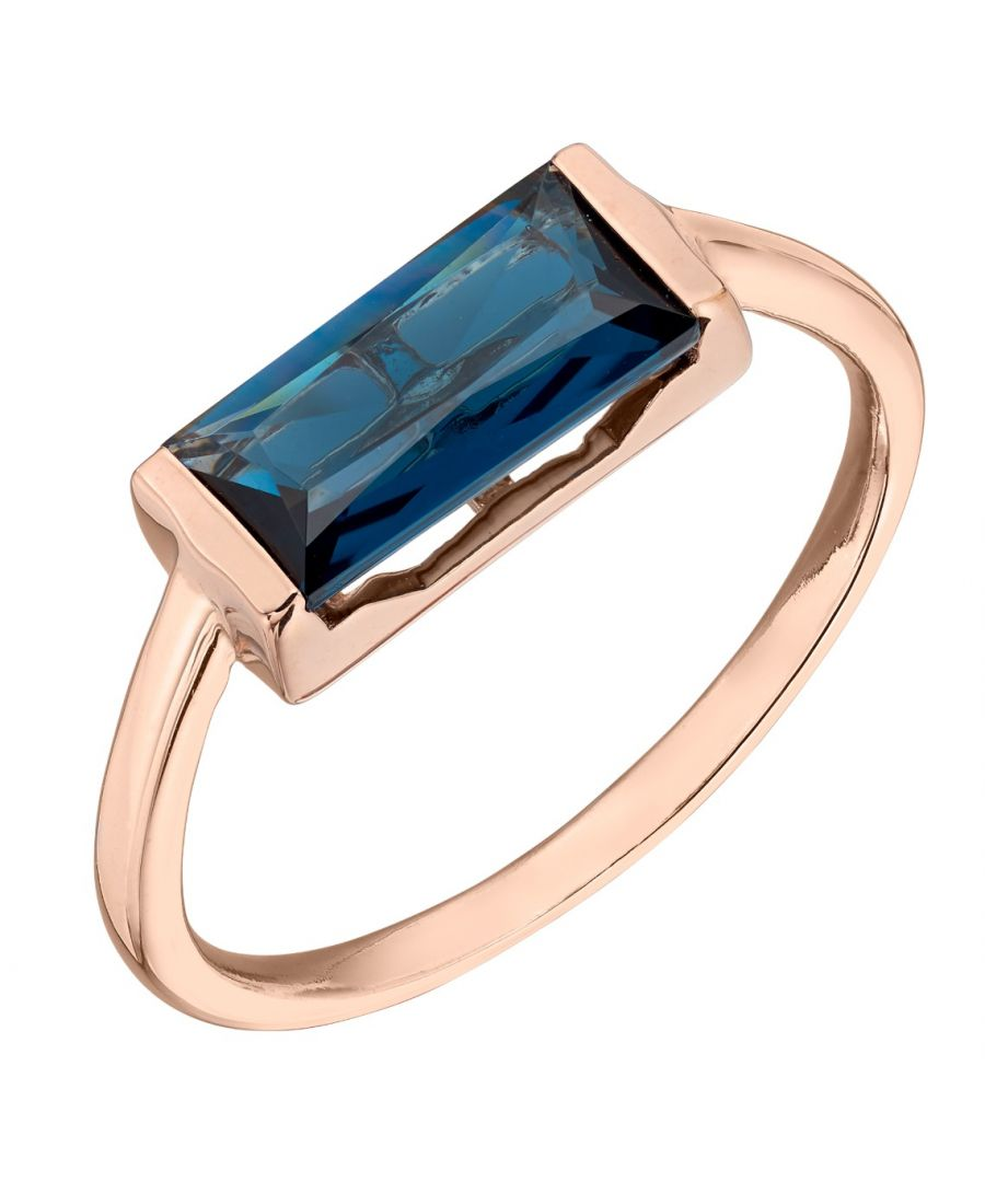 Image for Fiorelli Silver Women's 925 Sterling Silver Baguette Blue Nano Crystal and Rose Gold Ring