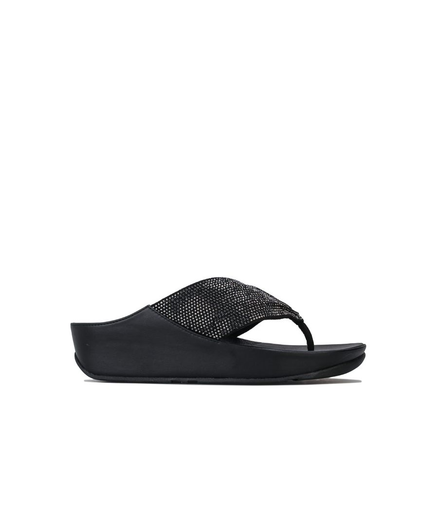 Image for Women's Fit Flop Twiss Crystal Toe Thong Sandals in Black