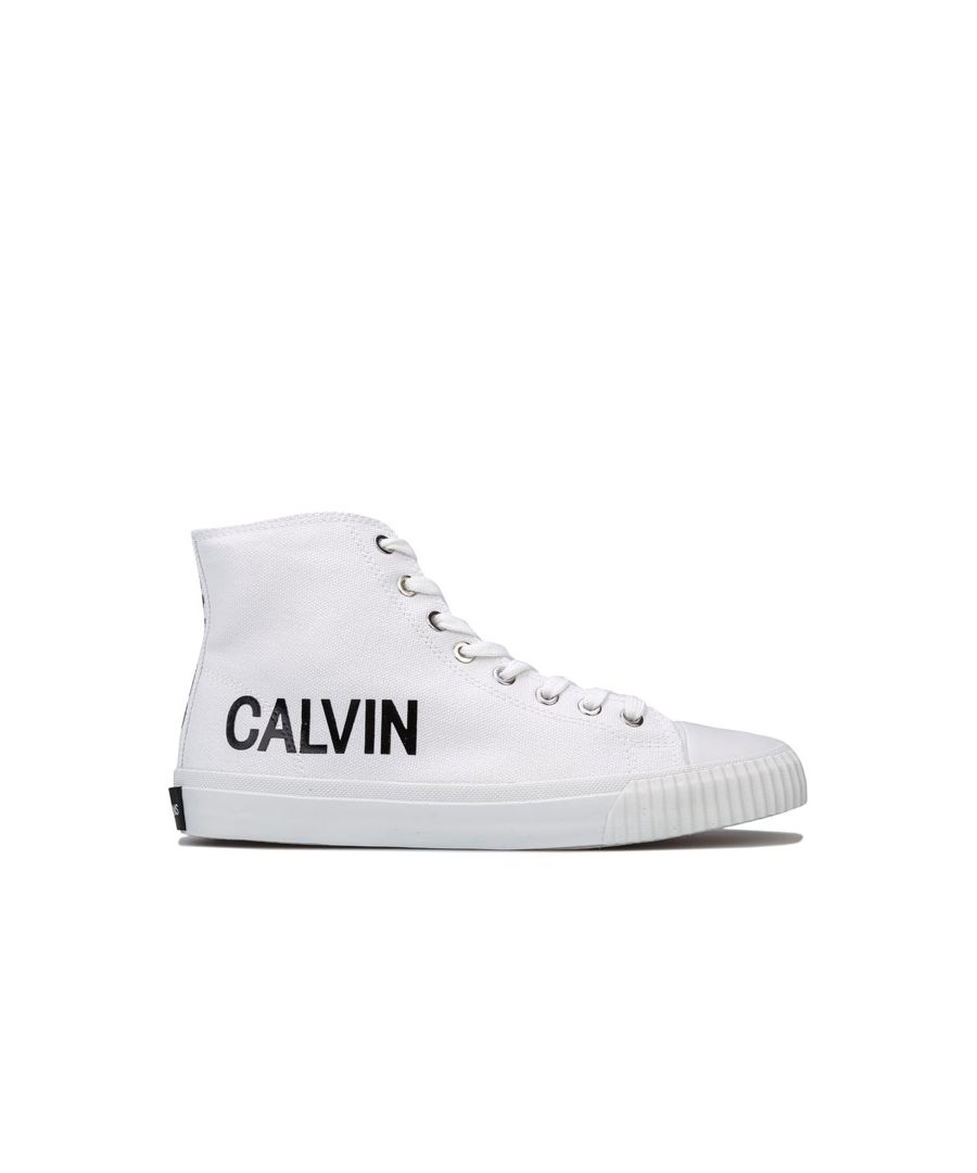 Image for Women's Calvin Klein Jeans Iole Hi-Top Lace Up Canvas Pumps in White