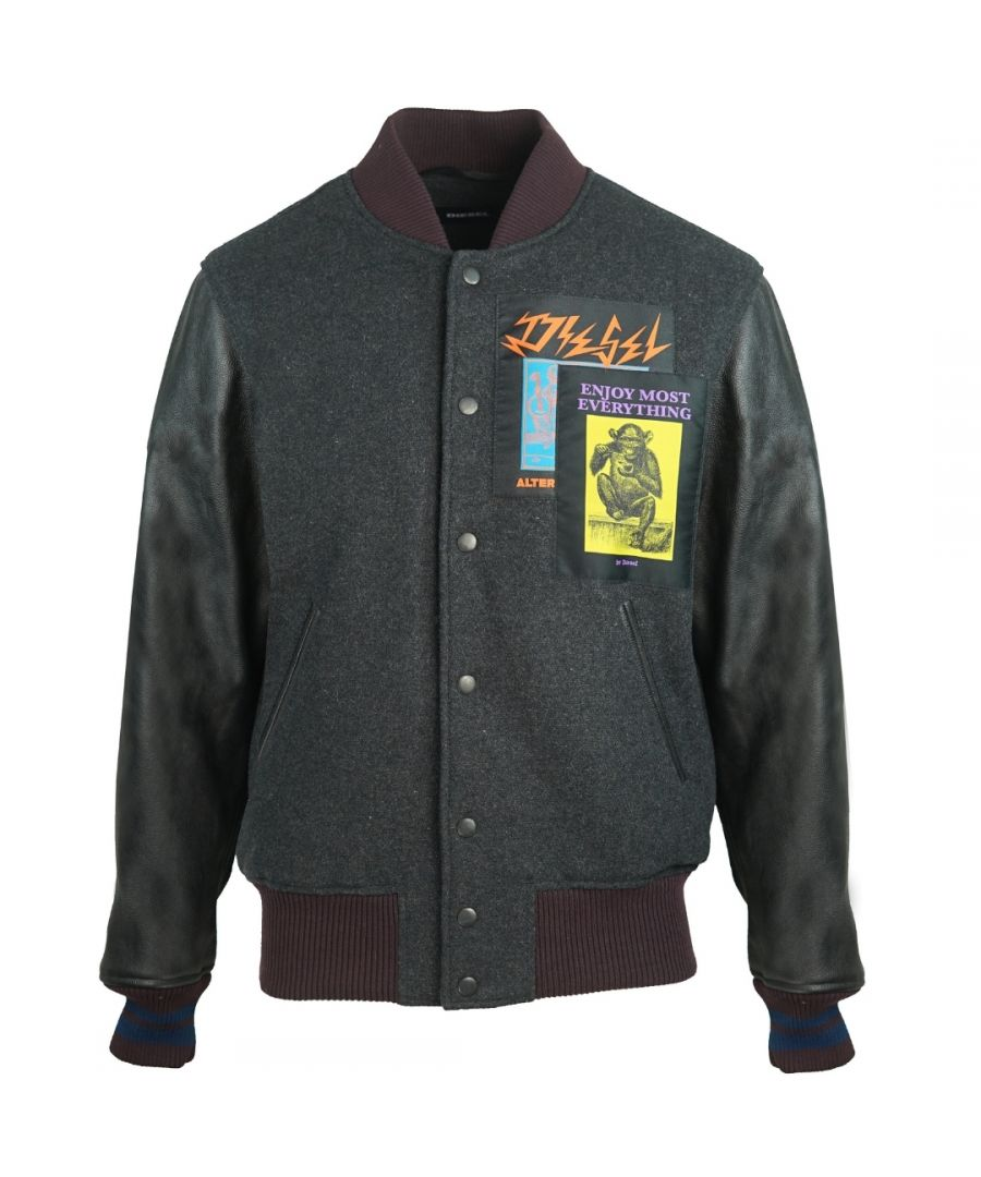 Image for Diesel R-Harryz Black Varsity Jacket