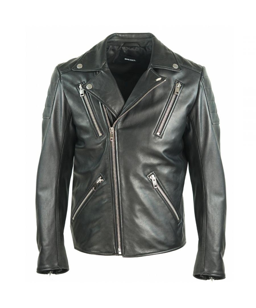 Image for Diesel R-Pusmir Black Leather Biker Jacket