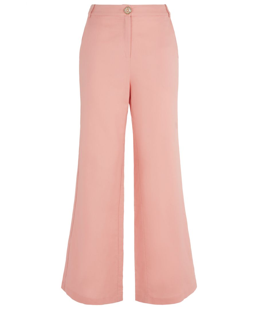 Image for Button Up Flared Trousers in Salmon Pink