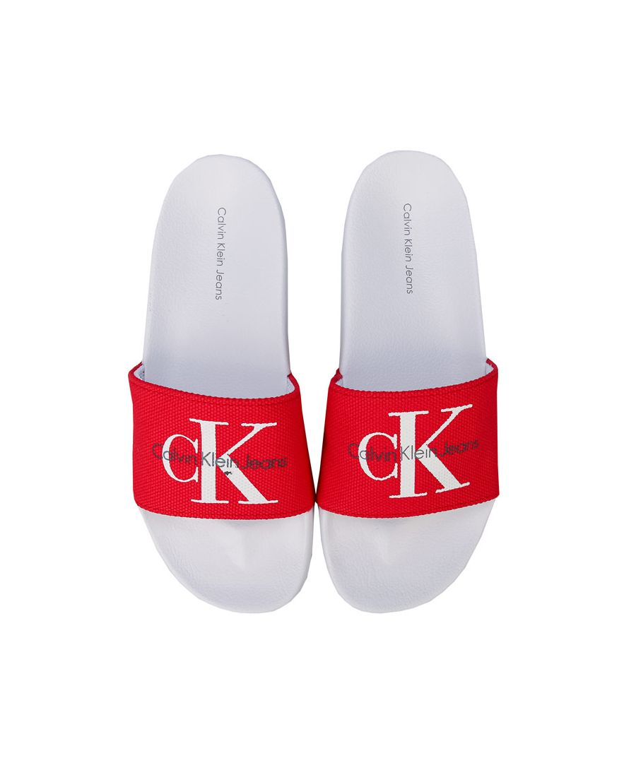 Image for Women's Calvin Klein Jeans Chantal Heavy Canvas Slide Sandals in Red