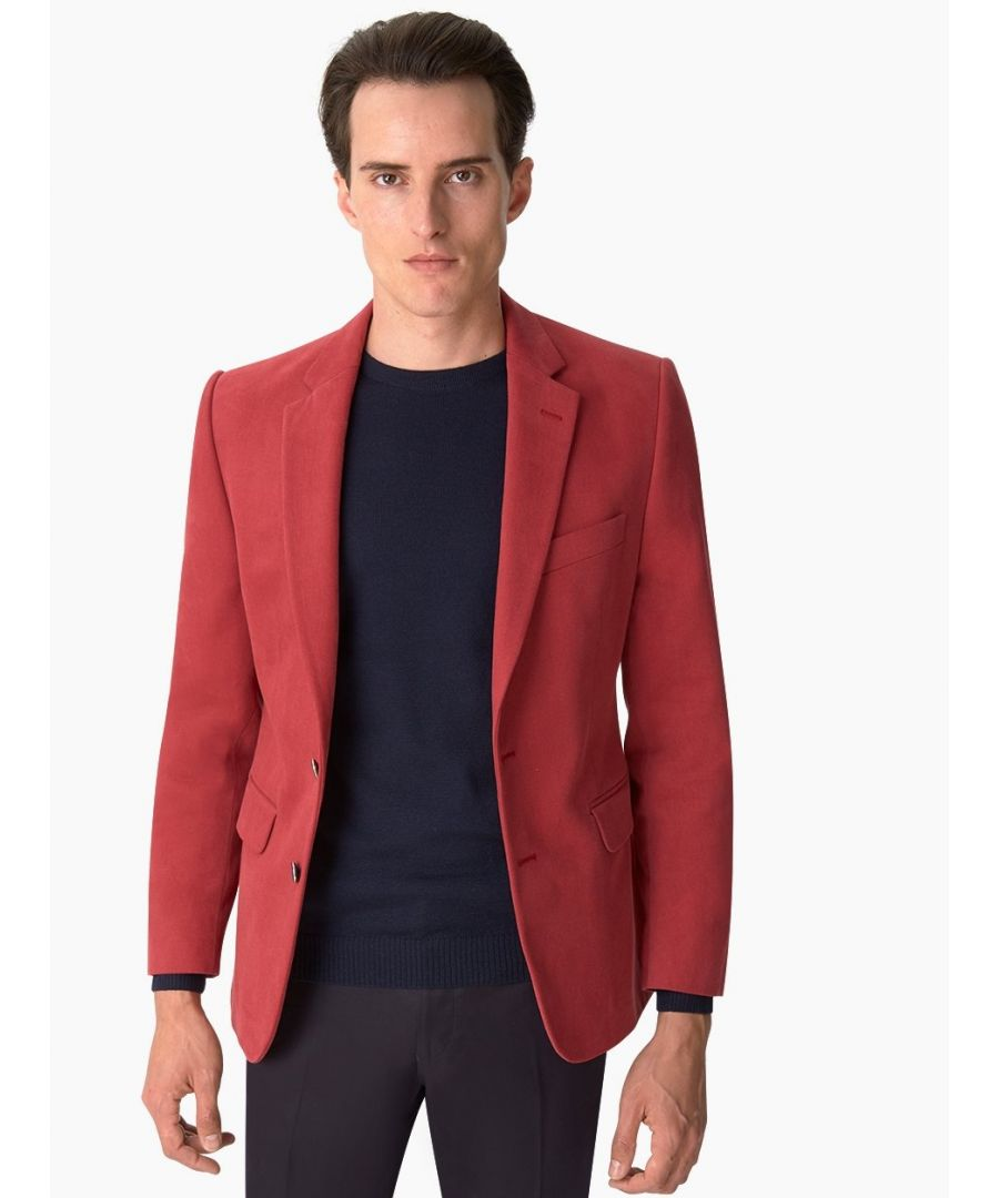 Image for Notch Lapel Cotton Twill Jacket Red