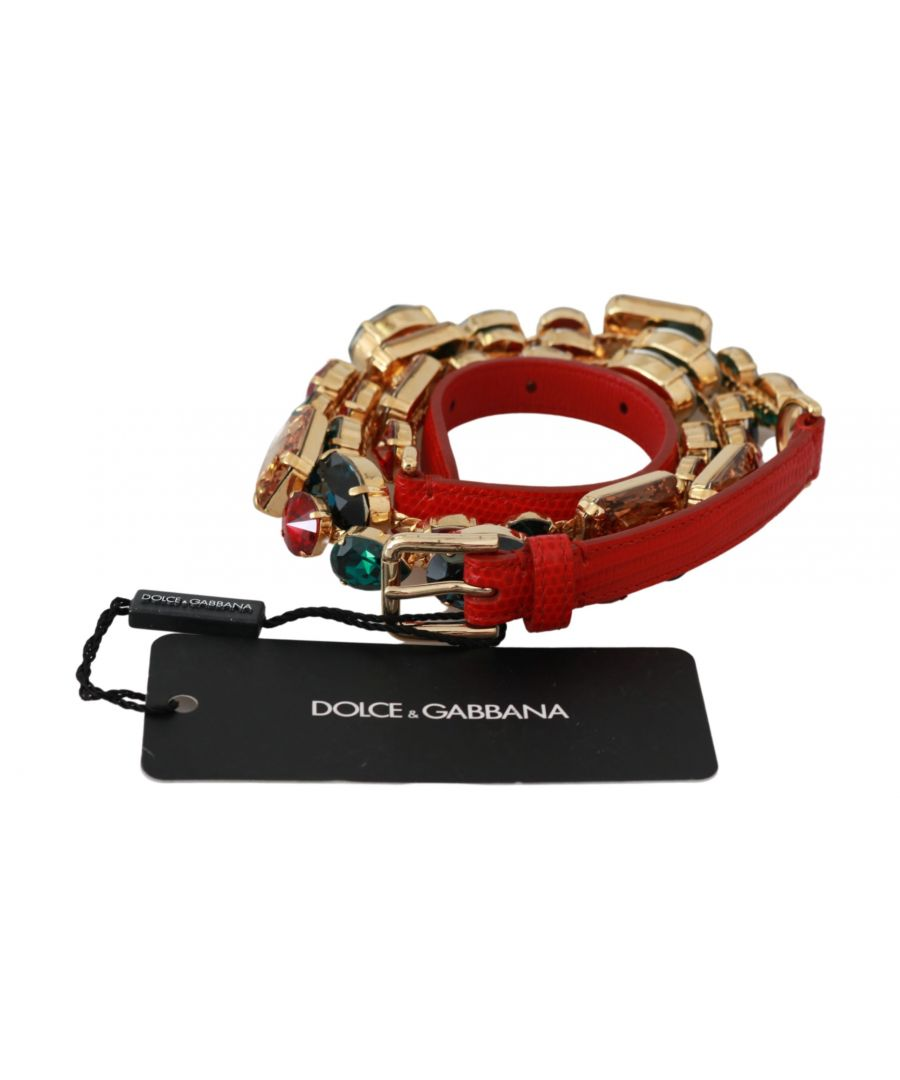 Image for Dolce & Gabbana Red Leather Multicolor Crystals Waist Belt