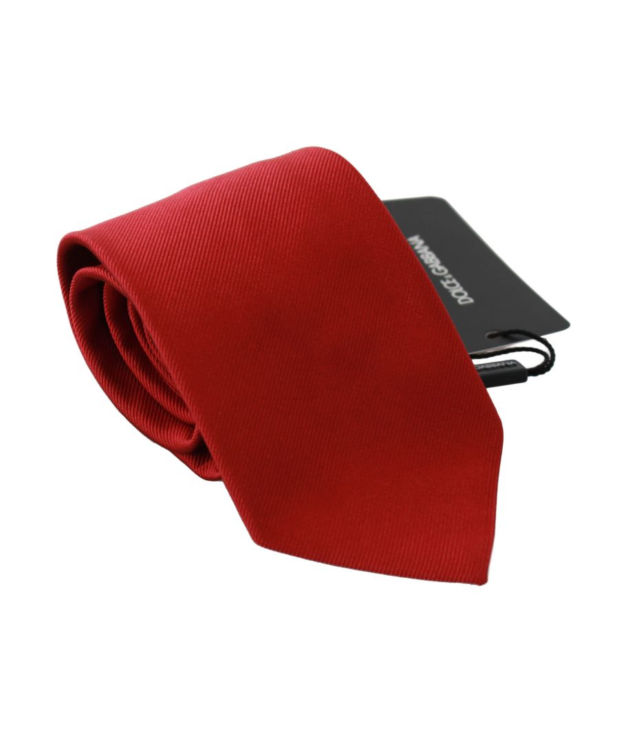 Image for Dolce & Gabbana Red Solid Silk Classic Mens Necktie Accessory Tie