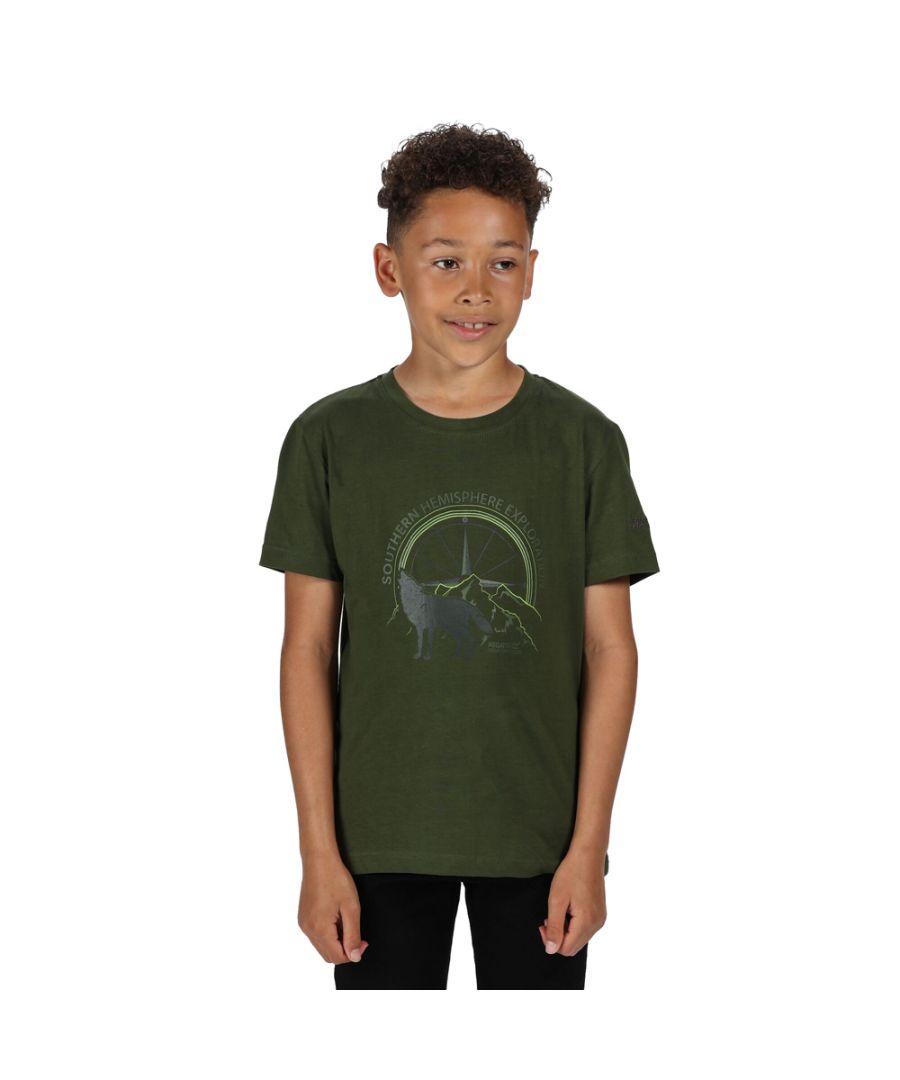 Image for Regatta Boys Bosley III Cotton Graphic Printed T Shirt Tee