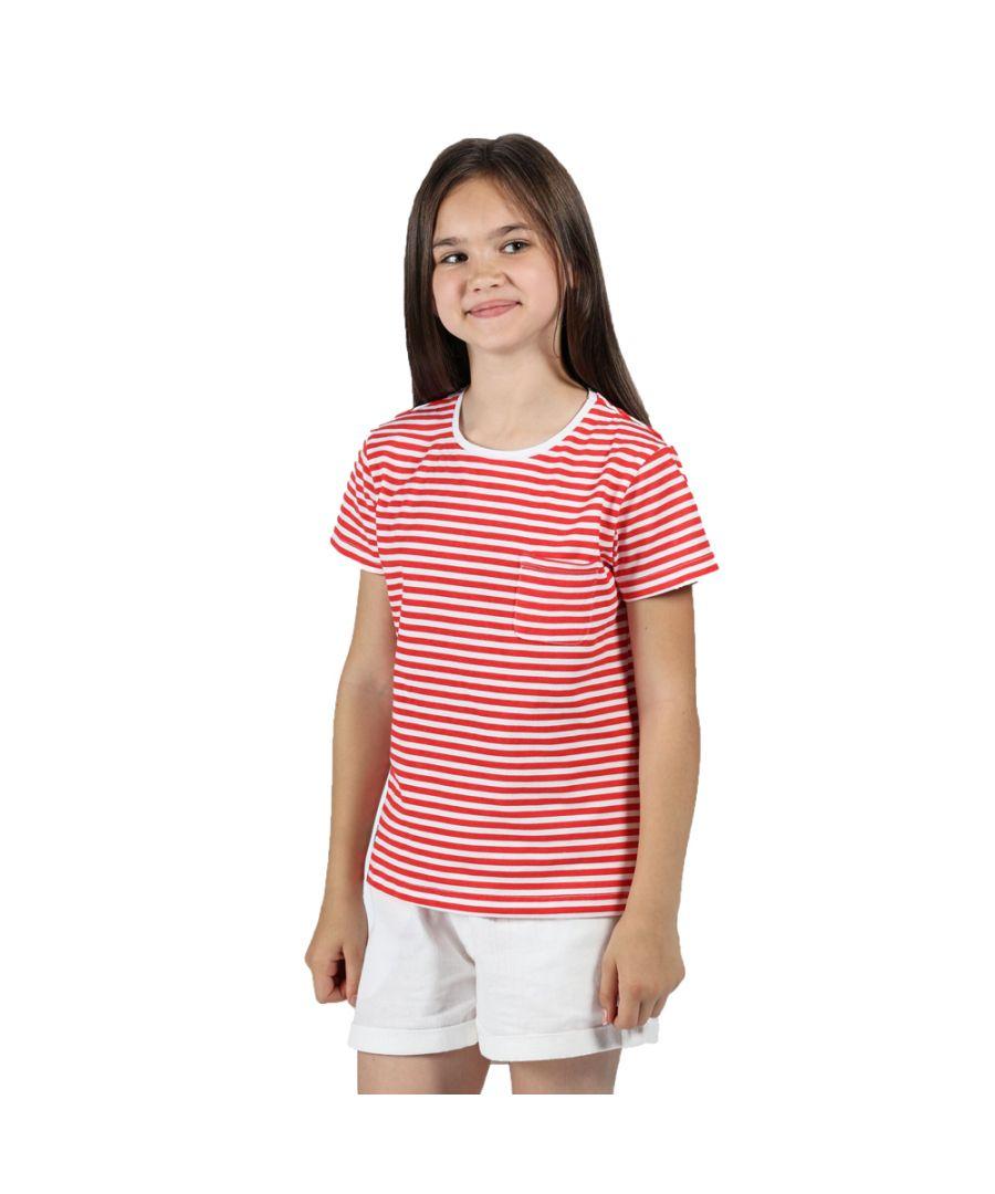 Image for Regatta Girls Ayan Casual Cotton Striped T Shirt Tee