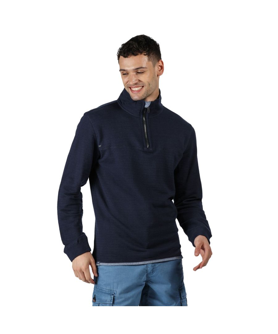 Image for Regatta Mens Lauro Cotton Casual Half Zip Jumper Sweater