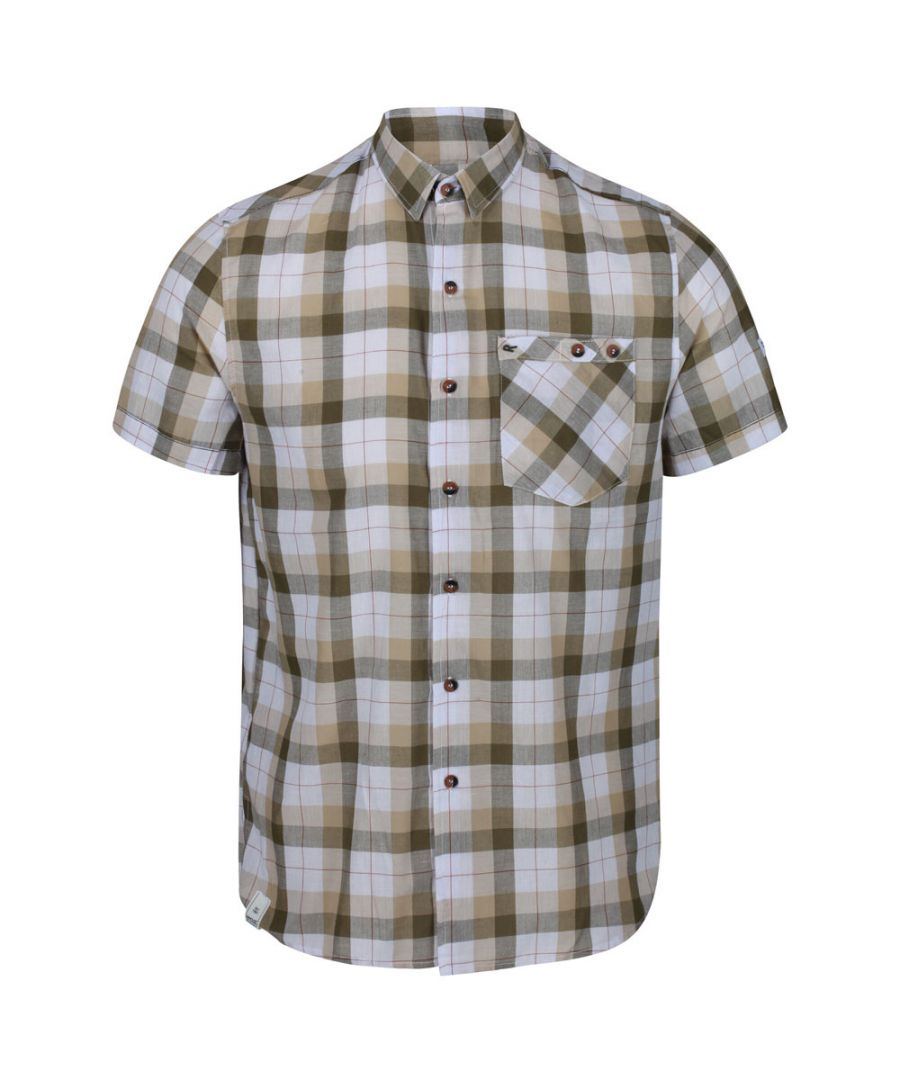 Image for Regatta Mens Ramiro Cotton Checked Short Sleeve Shirt