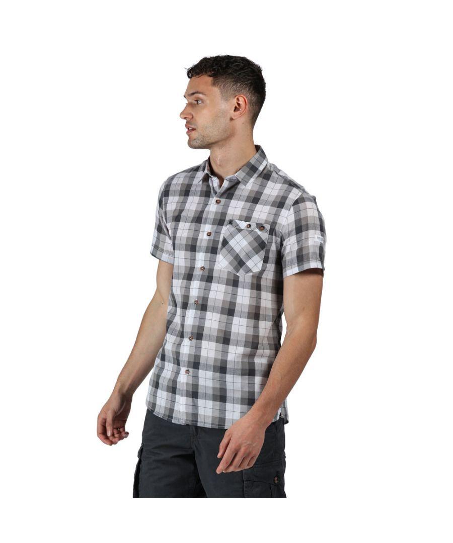 Image for Regatta Mens Ramiro Cotton Checked Short Sleeve Shirt