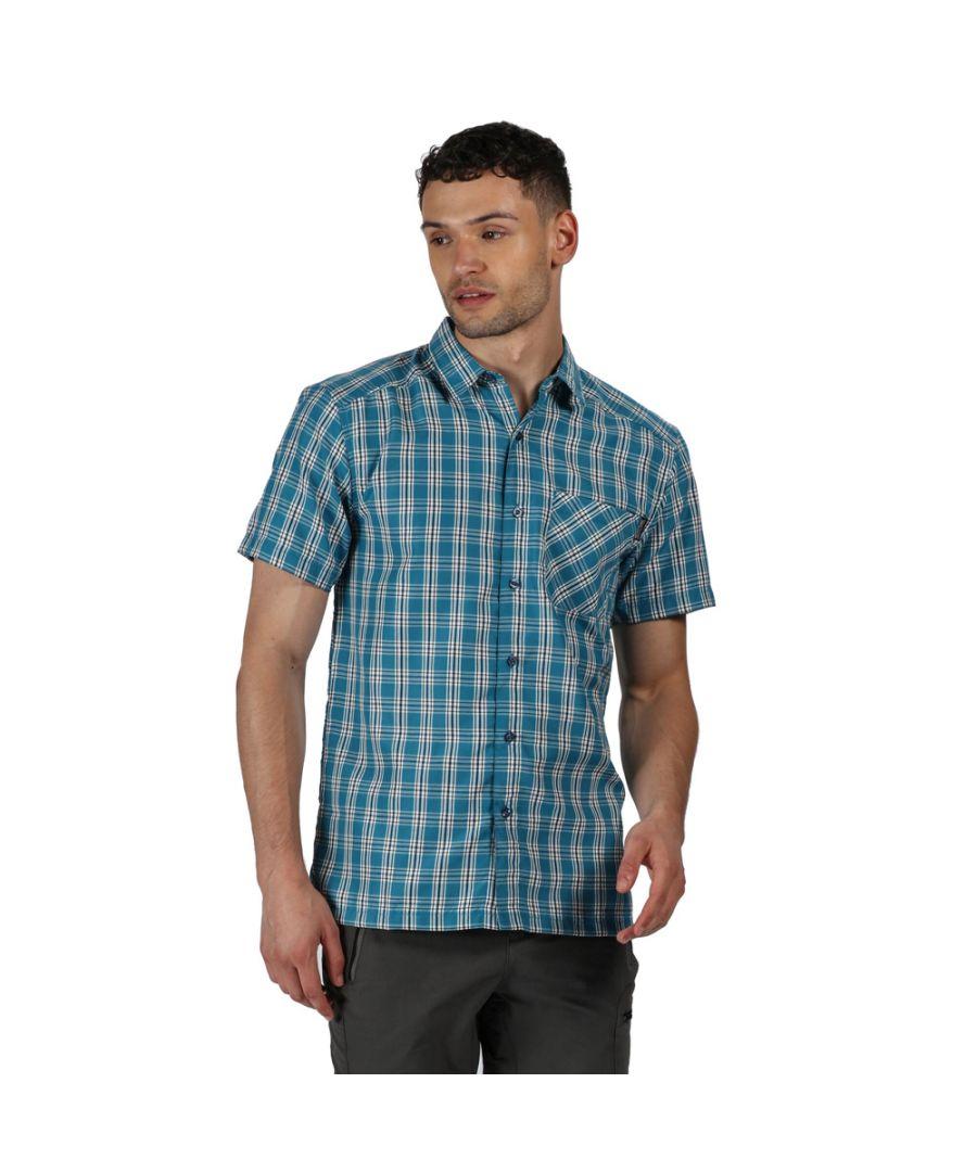 Image for Regatta Mens Mindano V Polyester Checked Short Sleeve Shirt