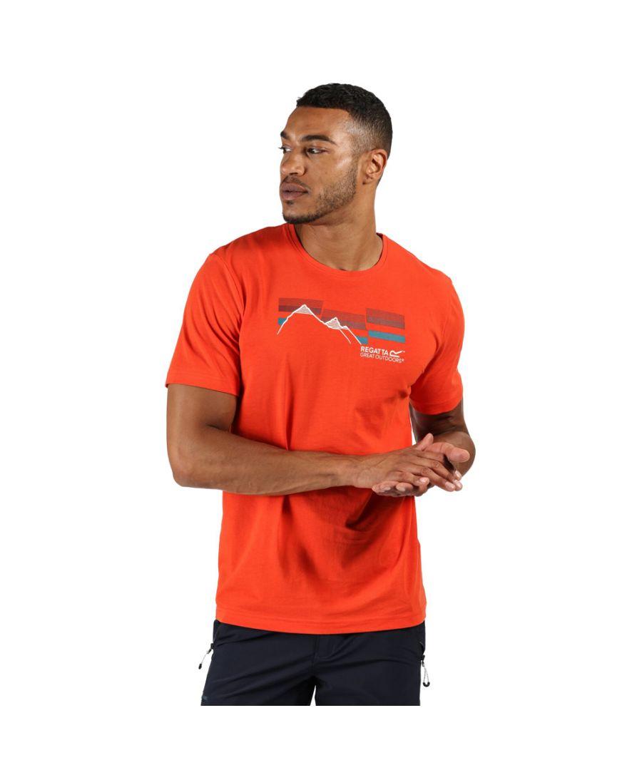 Image for Regatta Mens Breezed Cotton Casual Graphic T Shirt