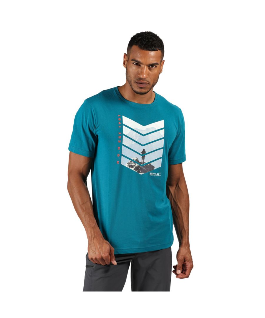 Image for Regatta Mens Breezed Cotton Casual Graphic T Shirt