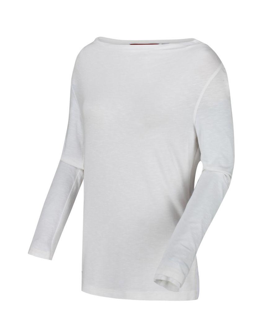 Image for Regatta Womens Frayler Cowl Neck Long Sleeve Slub Jersey Top