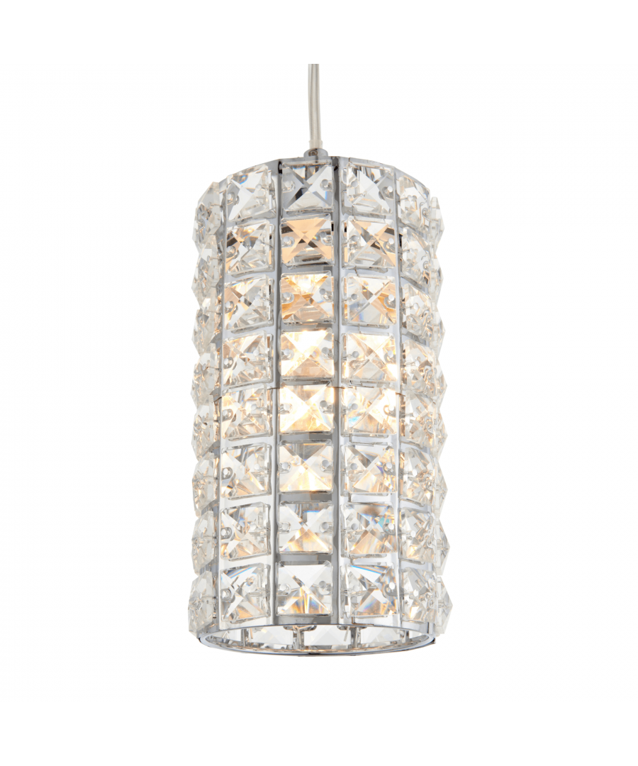 Image for Bea Large Polished Chrome and Crystal Cylindrical Ceiling Light Shade
