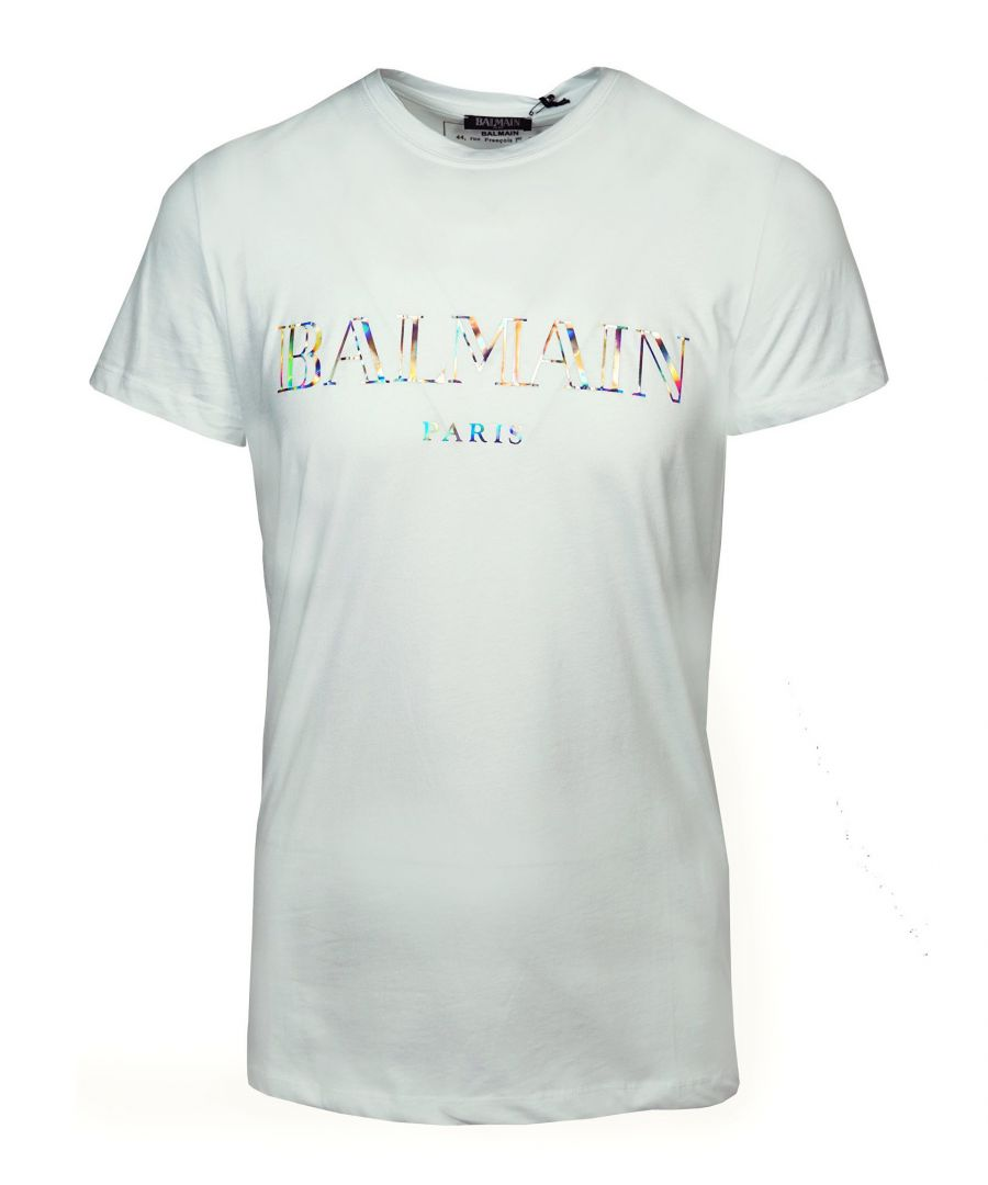Image for Balmain White T-Shirt Silver Reflective Logo