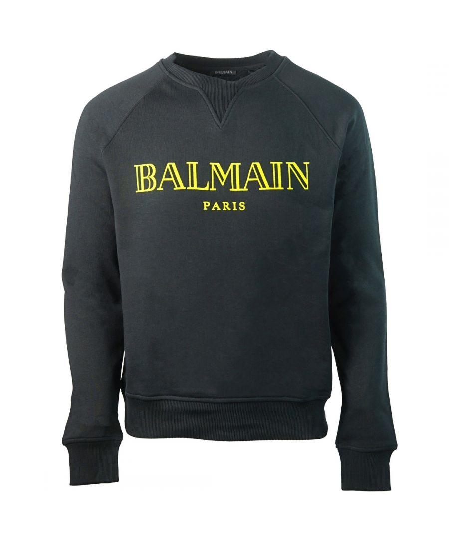 Image for Balmain Paris Velvet Logo Black Sweater