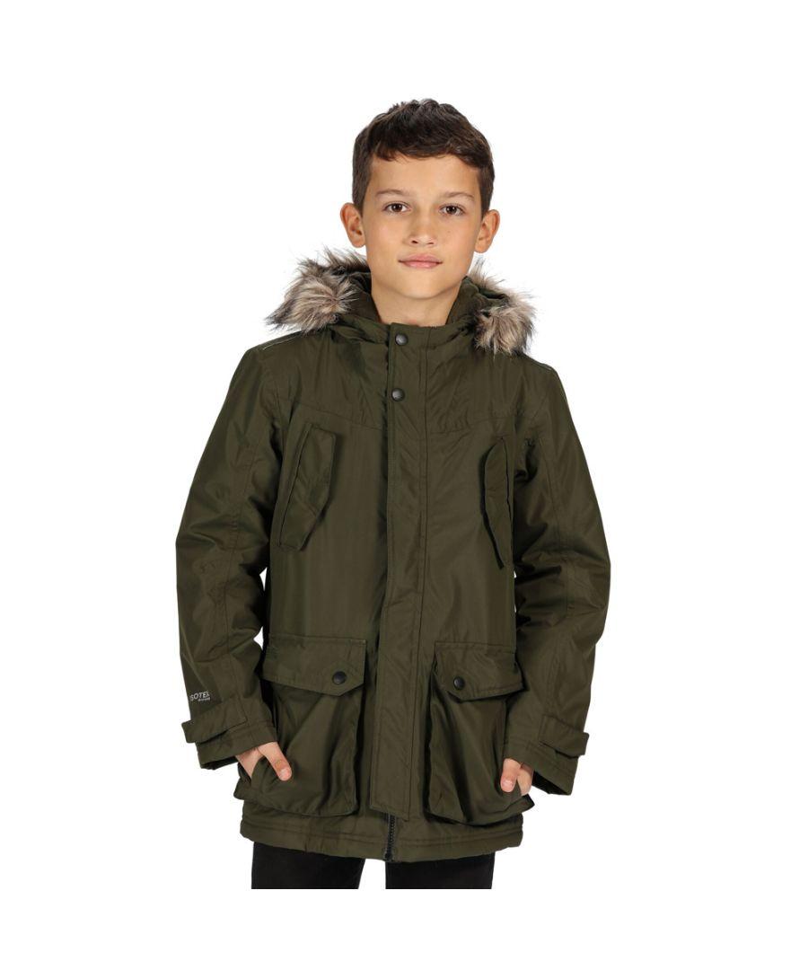 Image for Regatta Kids Pazel Parka Waterproof Fur Trim Hooded Jacket