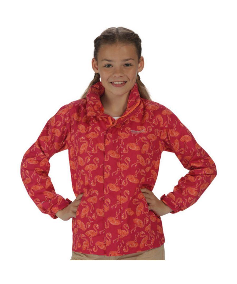 Image for Regatta Girls Printed Overchill Mesh Lined Waterproof Jacket