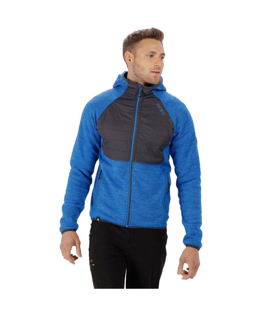 Image for Regatta Mens Rocknell Panelled Hooded Stretchy Hybrid Fleece Jacket