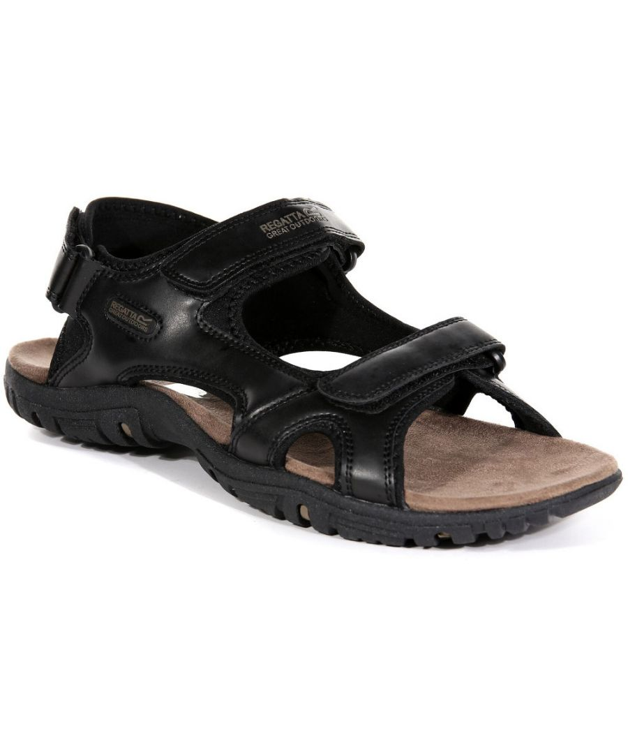 Image for Regatta Mens Haris Three Strap Faux Leather Walking Sandals