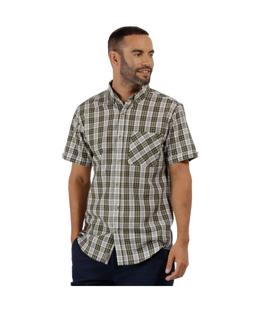 Image for Regatta Mens Eathan Coolweave Cotton Short Sleeve Casual Shirt