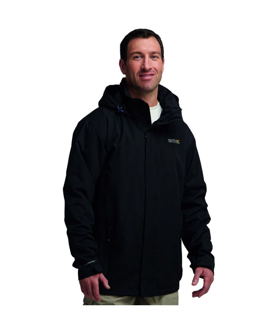 Image for Regatta Mens Matt Waterproof Hooded Shell Jacket Black RMW201