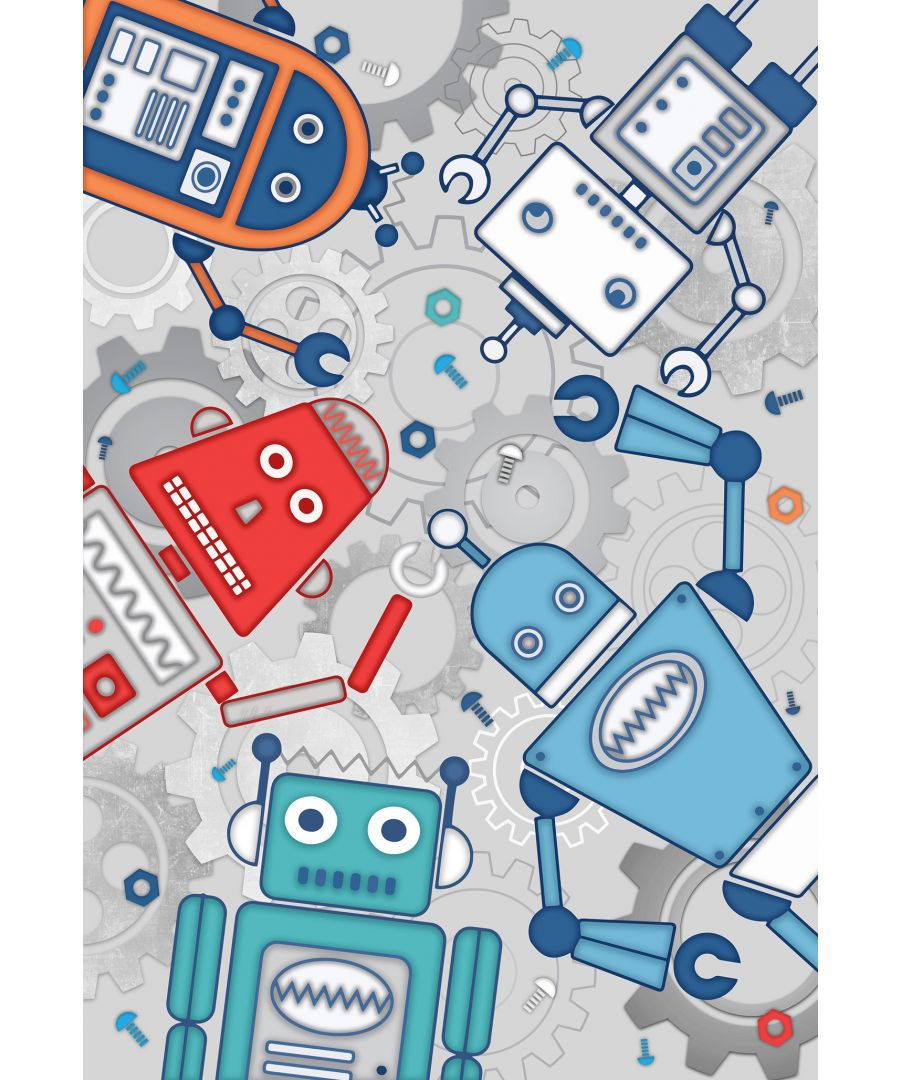 Image for Robot Wall Mural Blue