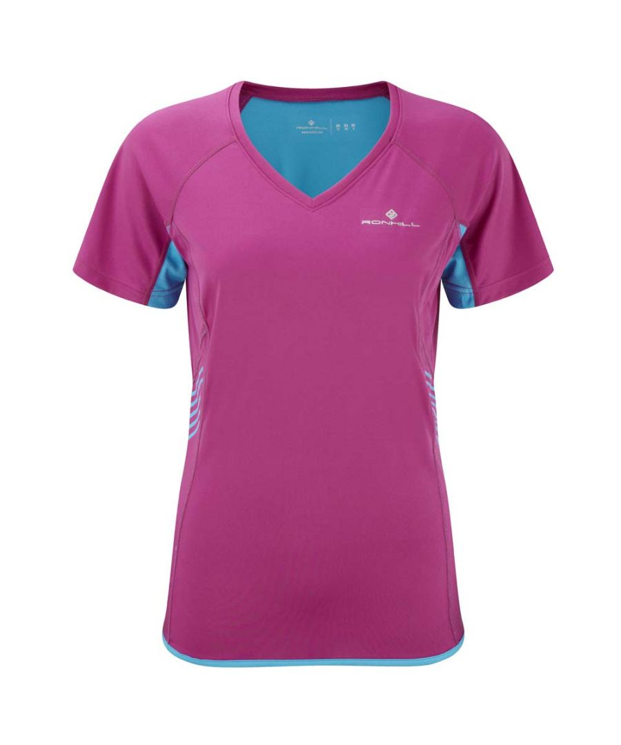 Image for Ron Hill Ladies Aspiration Short Sleeve Sports Running Tee Magenta Cyan