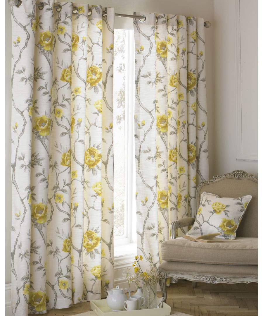 Image for Rosemoor Semi-Sheer Floral Eyelet Curtains in Ochre