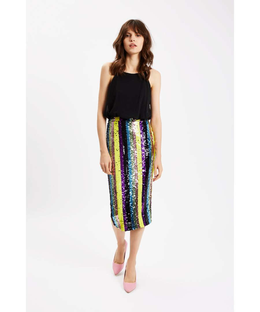 Image for Rainbow Ricochet Sequin Pencil Dress in Black