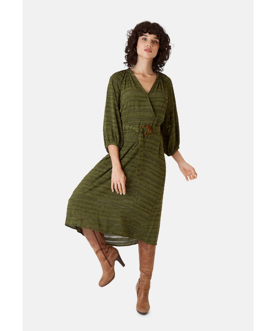Image for Belt Up Midi 3/4 Sleeve Dress in Green