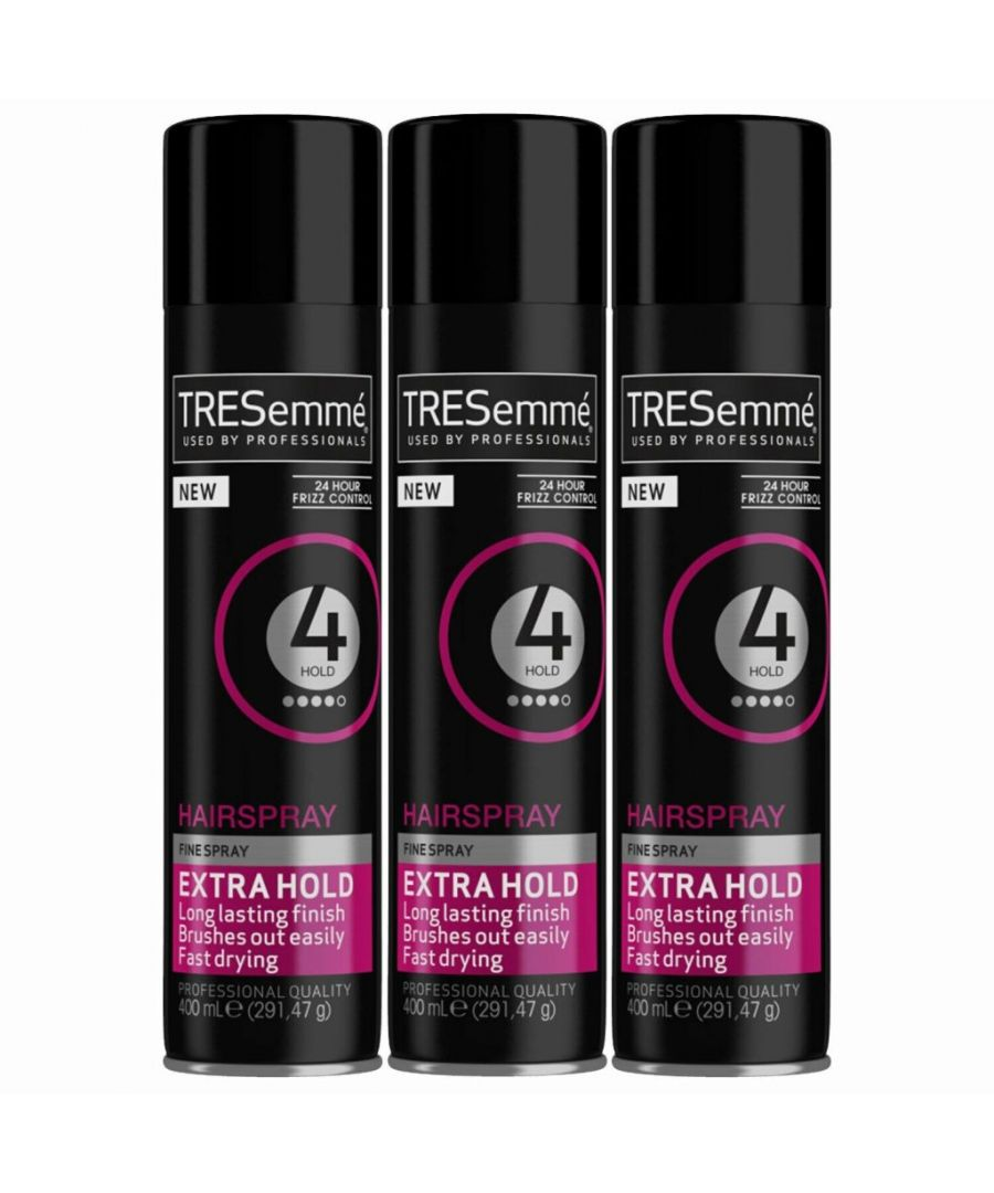 Image for TRESemme 24 Hour Frizz Control Hair Spray, Extra Hold, Pack of 3, 400ml