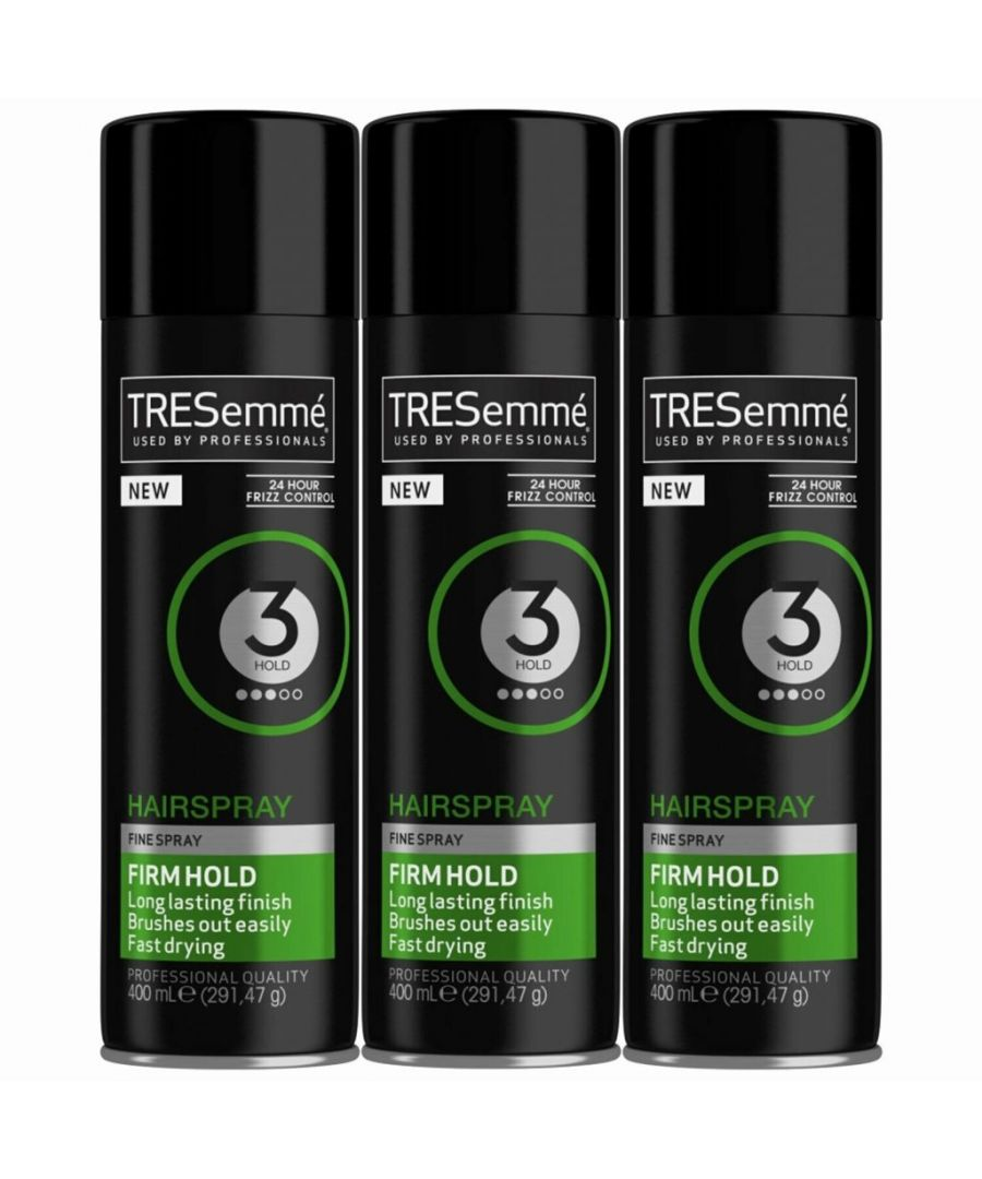 Image for TRESemme 24 Hour Frizz Control Hair Spray, Firm Hold, Pack of 3, 400ml