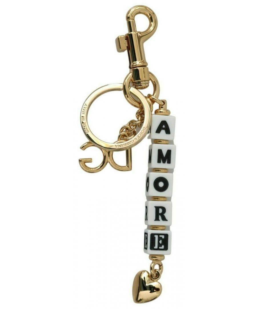 Image for Dolce & Gabbana Gold Brass DG AMORE Logo Badge Keychain