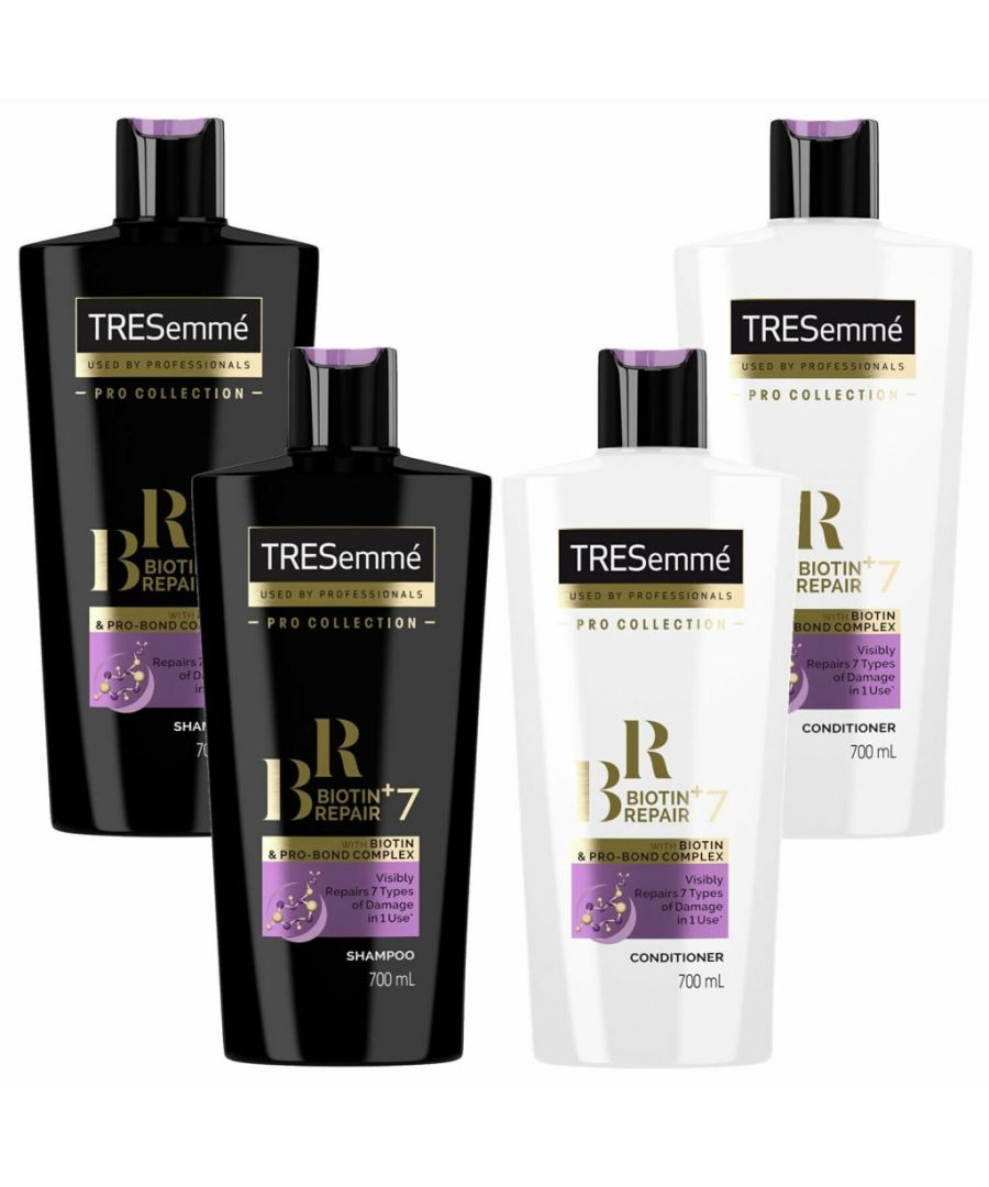 Image for TRESemme Biotin Repair+7 Shampoo Pack of 2 & Conditioner Pack of 2, 700ml