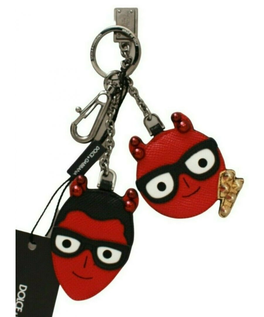 Image for Dolce & Gabbana Red Devil Leather Dominico Stefano Silver Keychain