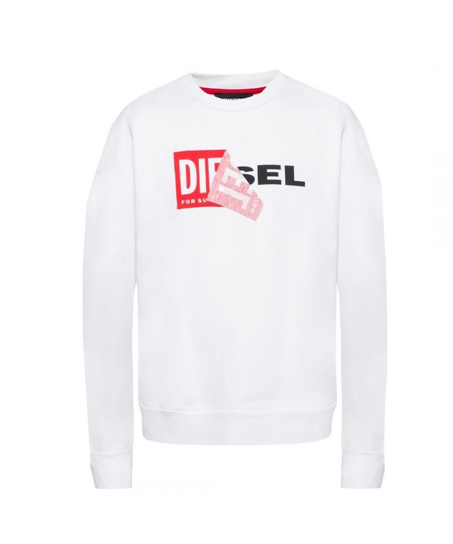 Image for Diesel S-SAMY Peeled Box Logo White Sweatshirt