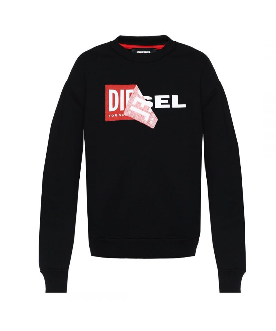 Image for Diesel S-SAMY Peeled Box Logo Black Sweatshirt
