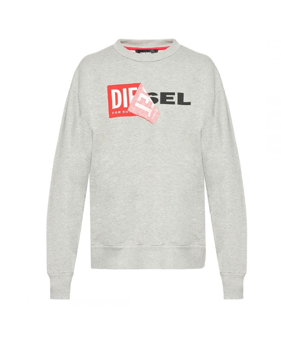 Image for Diesel S-SAMY Peeled Box Logo Grey Sweatshirt