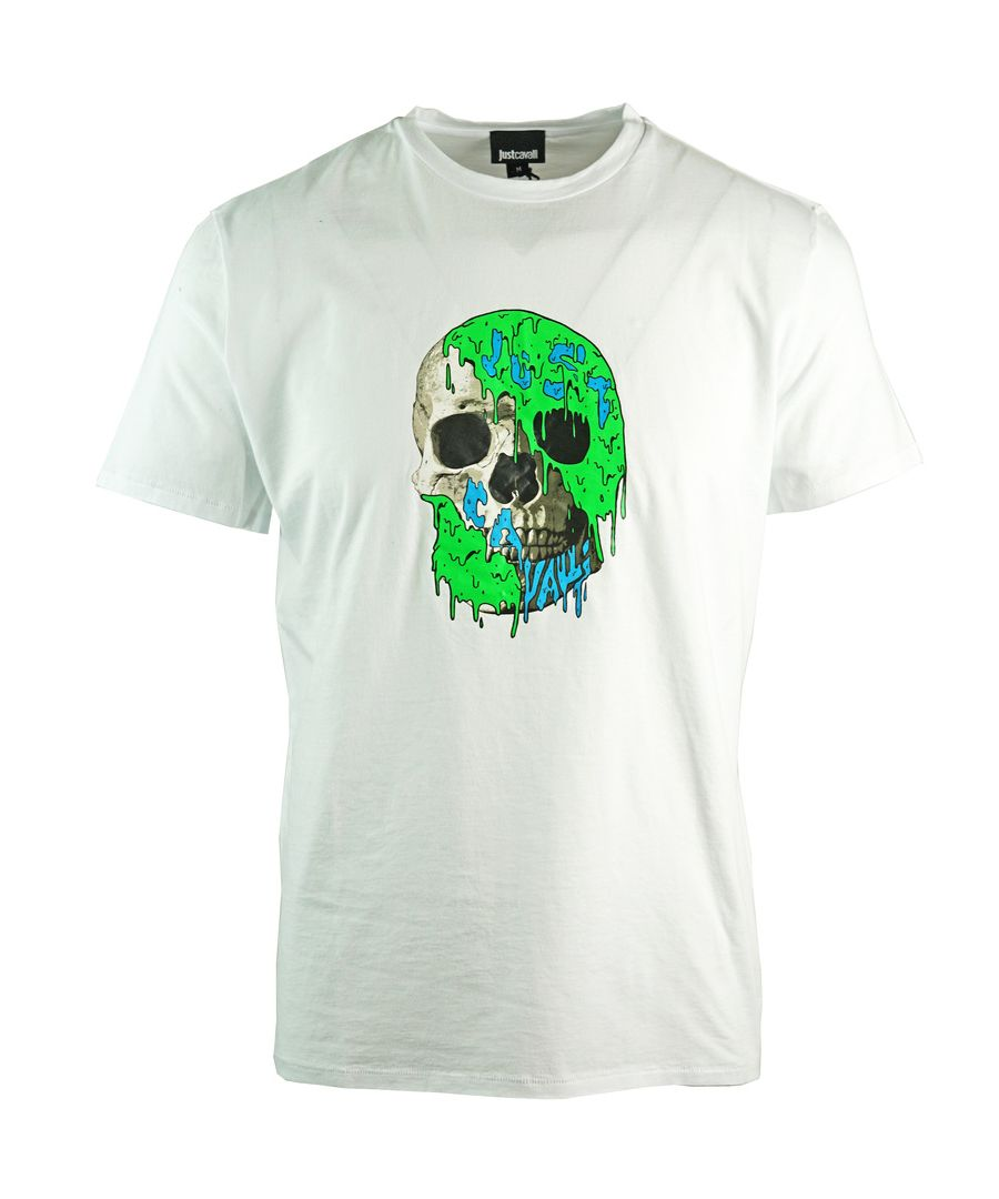 Image for Just Cavalli Painted Skull White T-Shirt