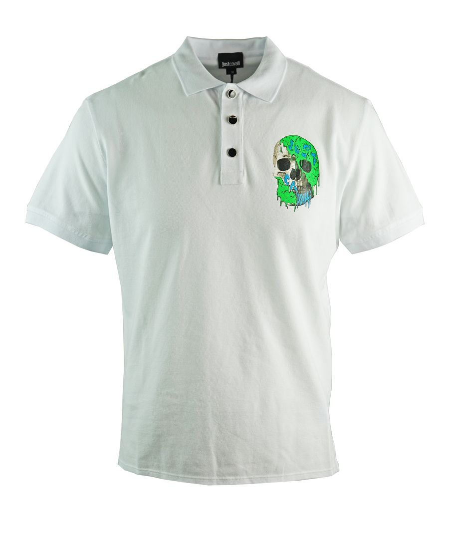 Image for Just Cavalli Painted Skull White Polo Shirt