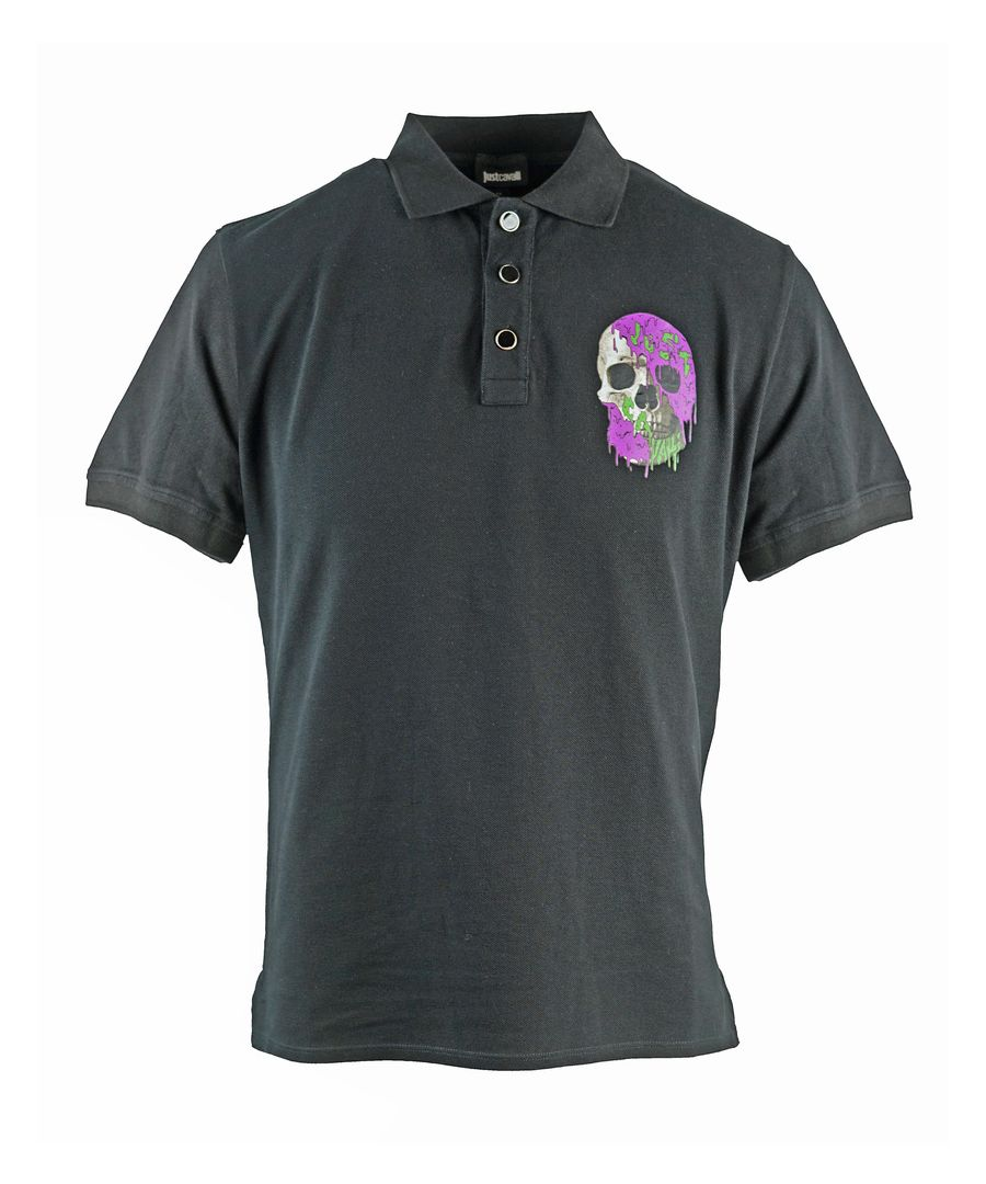 Image for Just Cavalli Painted Skull Black Polo Shirt