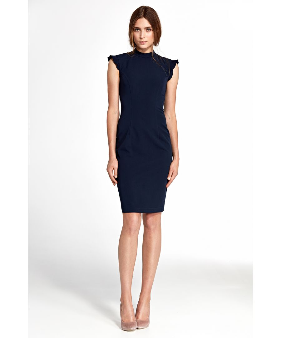 Image for Dress With Ruffles On  Shoulders in Navy Blue