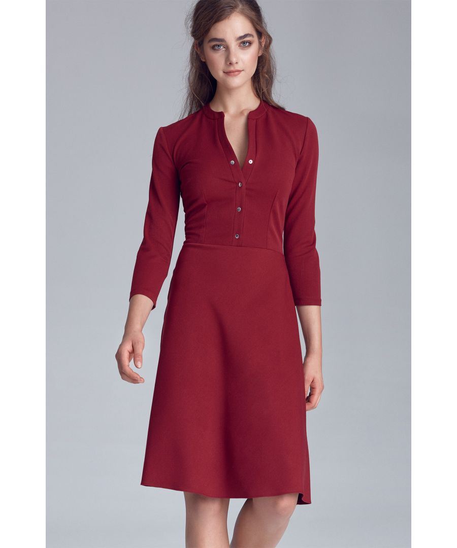 Image for Dress fastened with naps - claret